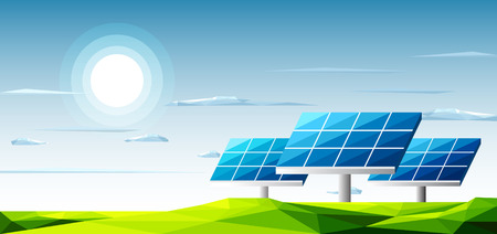 Polygonal landscape with solar panels standing under the heat of the sun use for energy alternative.-Ecology Concept Illustration