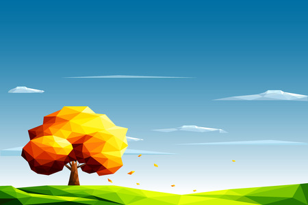 Polygonal landscape with lawn and autumn tree-Vector Illustration