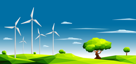 Landscape with wind farm in green fields among trees.Ecology Concept.Polygonal style-Eps10 Vector Illustration. Ilustrace