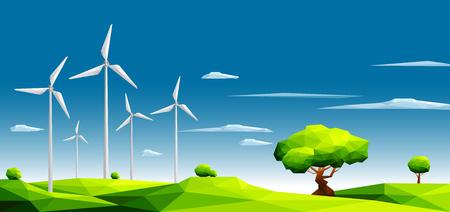 Landschaft mit Windpark auf den grünen Gebieten unter Bäumen. Ökologiekonzept Polygonale Vektorillustration der Art-Eps10.
