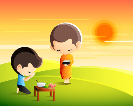 Buddhist monk holding alms bowl in his hands to receive food offering from sitting man in the moring Illustration
