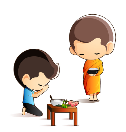 Buddhist monk holding alms bowl in his hands to receive food offering from sitting man isolated on white background