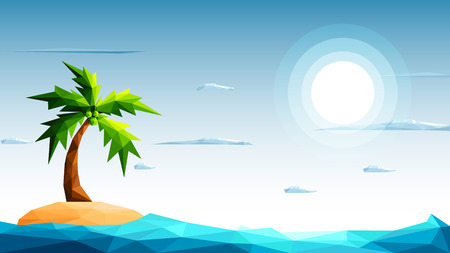 Polygonal seascape with beautiful island, sea and coconut palm tree-Vector Illustration. Illustration