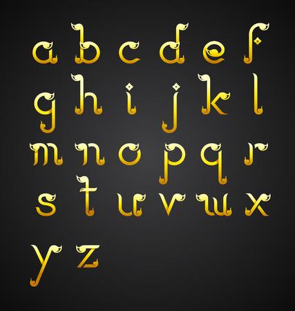 Calligraphic alphabet design in Thai style-Vector Illustration. Illusztráció