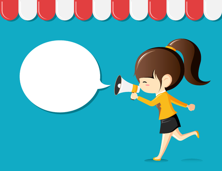 Happy businesswoman announce with megaphone and speech bubble for text.Business marketing concept-Vector Illustration