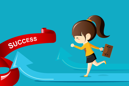 Businesswoman running on arrow to success.Business competition concept-Vector Illustration Illustration