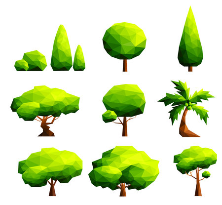 Set of polygonal trees and bushes