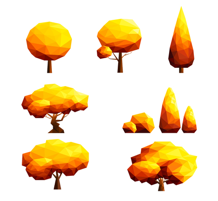Set of polygonal  trees and bushes-Autumn concept Illustration