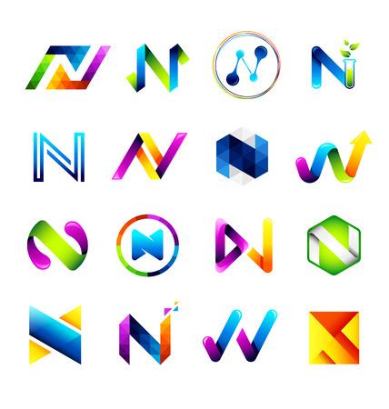 Abstrakte Symbole entwerfen basierend auf dem Buchstaben N-Vector Illustration