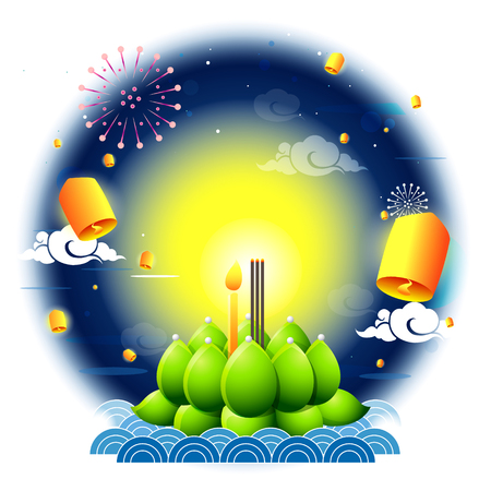 Loy Krathong and Yi Peng Festival with full moon on white background.Celebration and Culture of Thailand-Vector Illustration
