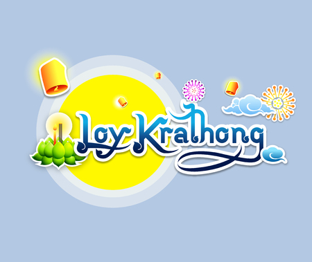 Loy Krathong typography design on blue background-Vector Illustration