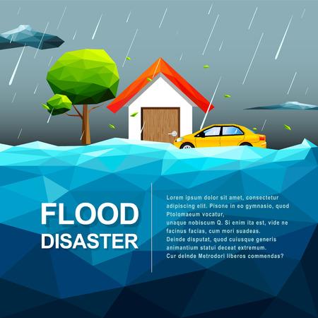 다각형 물 홍수 재해 개념 - 벡터 일러스트 레이션 일러스트
