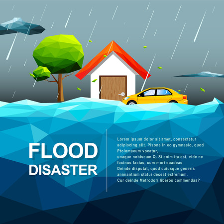 Polygonal water flood disaster concept -Vector Illustration
