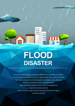 Polygonal flooding in city-Flood Disaster concept.Vector Illustration.