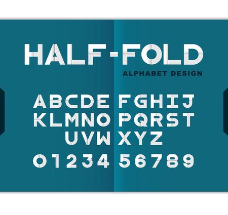 Vector modern Half-Fold paper alphabet design set-Origami style.Vector Illustration Foto de archivo - 111266893