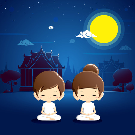 Boy and girl in white clothing meditating at temple with night scene.