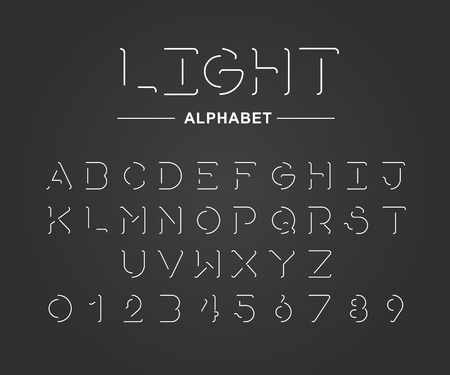 Linear uppercase  sans serif alphabet and numbers design-Minimalist style