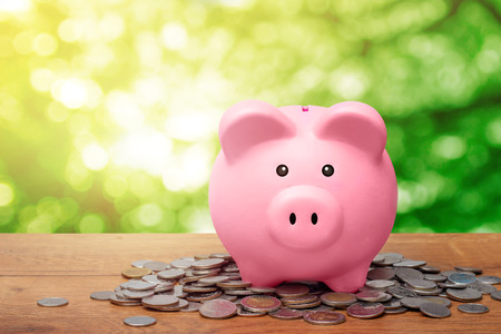 Pink piggy bank standing over pile of coins on wooden table with bokeh natural green leaves background and sunlight.