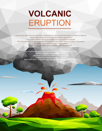 Landscape of volcanic eruption with lava flowing and ash cloud in green fields among trees-Natural disaster concept.Polygonal style-Eps10 Vector Illustration.