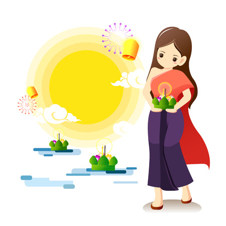 Young girl in Thai traditional costume with full moon,lanterns and krathong floating on water background.Loy krathong festival concept.Vector Illustration