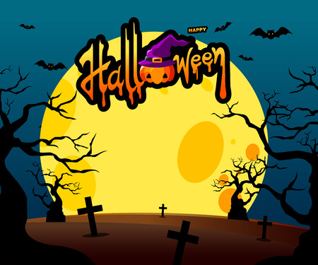 Halloween poster design with hand lettering and spooky forest on moon background-Vector Illustration