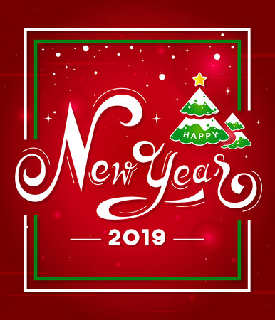 Happy New Year 2019 white hand lettering text with Christmas tree on red background.Greeting card design-Vector illustration Ilustração