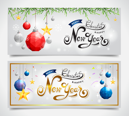 Merry Christmas and Happy New Year banner with hand lettering design on winter Vector Illustration. Ilustração