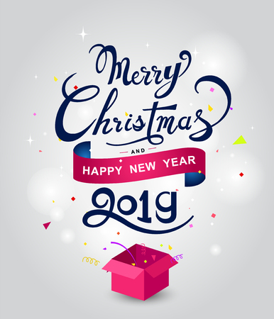 Merry Christmas and Happy New Year hand lettering design Vector Illustration