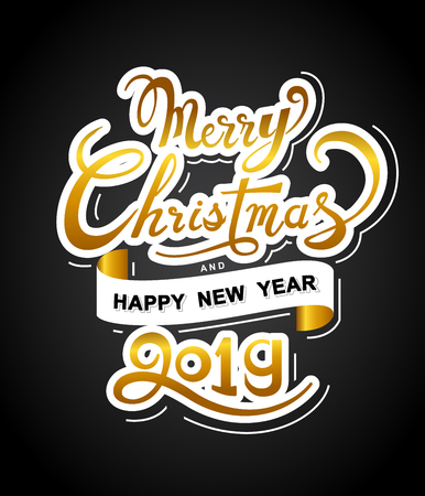 Merry Christmas and Happy New Year poster with hand lettering design on black background-Vector Illustration. Ilustração
