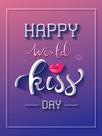 Happy World Kiss Day hand lettering design.Typography for holiday greeting card,poster,banner design. Ilustração