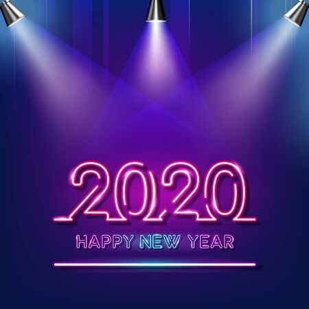 Happy New Year 2020 neon text with spotlights on purple and blue background. Banco de Imagens