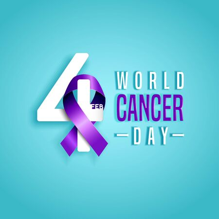 4 February, World Cancer Day with  awareness purple ribbon and number four design on blue background. Ilustração