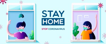 People in medical mask stay at windows and look out of apartment. Greeting and communication of neighbors-Stay at home campaign for coronavirus prevention concept.
