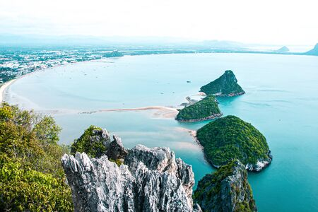 Beautiful top view separate sea and sea sky background from the mountain at Khao Lom Muak, Prachuap Khiri Khan, Thailand