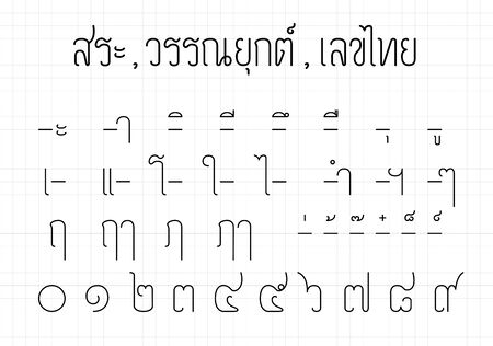 Thai vowels, Four tone markers and Thai number from zero to nine. Alphabet design-Minimal style.