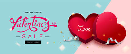 Happy Valentine's Day with red heart shaped gift box and glitter gold confetti on blue and pink background-For poster, flyer, invitation, brochure, banner.Vector Illustration.