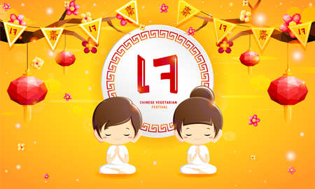 Boy and girl in white clothes with polygonal lanterns,flowers, Chinese and Thai language flags design on yellow background in Chinese Vegetarian festival (Thai and Chinese translation : vegetarian)