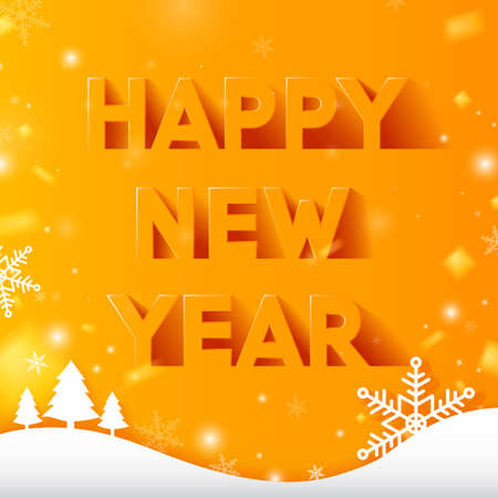 Happy New Year text design in paper style and long shadow on yellow background with sparkles. Vector illustration.