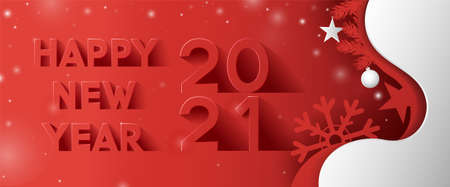 Happy New Year text design in paper cut style and long shadow on red and white background with sparkles.Vector Illustration Ilustração