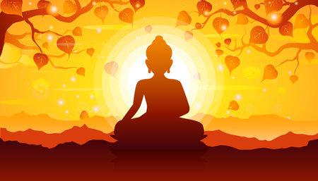 Buddha sitting under bodhi tree on sunset background-Magha Puja, Asanha Puja,Visakha Puja Day, Buddhist holiday concept.Vector Illustration Vettoriali