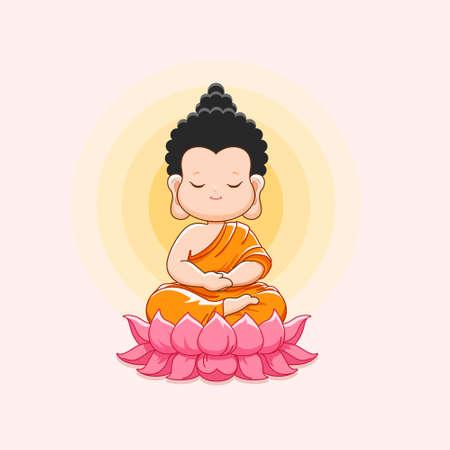Cute Buddha meditating on the lotus.Happy vesak day or buddha purnima-Vector illustration Ilustración de vector