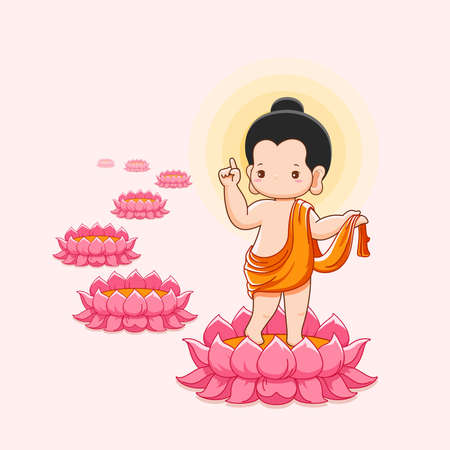 Lord Buddha's born and walking on lotus with seven lotus flower.Happy vesak day concept -Vector Illustration