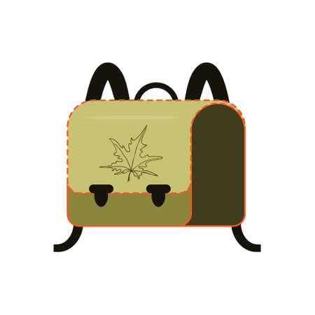 Backpack for school students. Colorful flat icon illustration. Vector Çizim