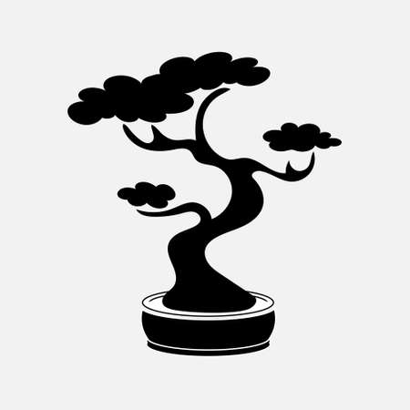 Black contour tree illustration icon. Bonsai japanese traditional tree. Vector eps 10