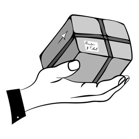 Home delivery service concept. Hand drawn illustration of man s hand and a purchase. Colored in shades of grey. Flat sketch style. Vector eps 10