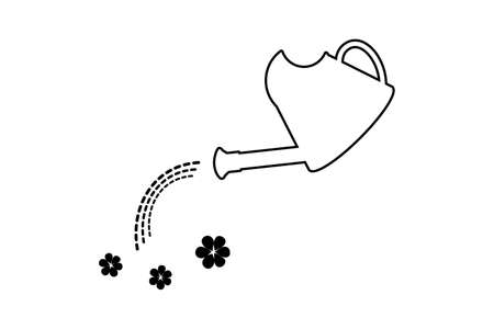 Watering can with drops and flowers, outline icon. Vector, eps 10
