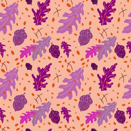 Autumn seamless pattern, hand drawn set of violet silhouettes of fall forest season, cantaloupe color background Illusztráció