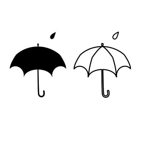 umbrella set of icons, flat design, outline contains only one detail, vector Vettoriali