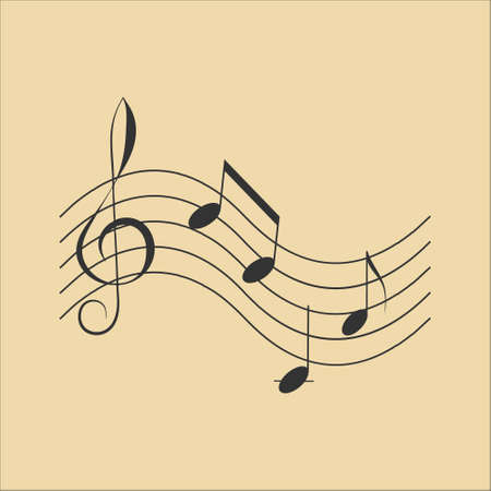 Icon symbol of Music notes on gold light background
