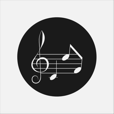Icon symbol of Music notes on rounded black background.